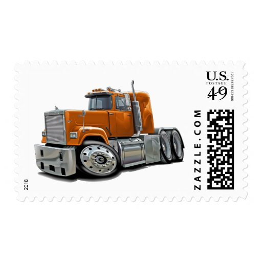 Mack Superliner Orange Truck Stamp