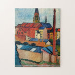 Macke - St Marys Church with houses and chimney Jigsaw Puzzles