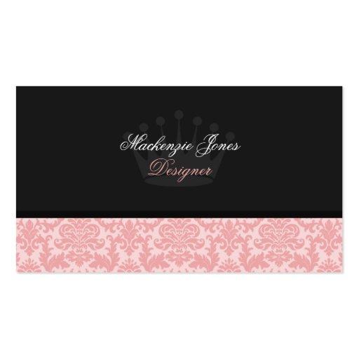 Mackenzie #3 Pink u0026Black Damask Chic Business Card : Zazzle