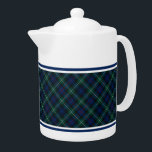 "Mackenzie Clan Tartan Navy Blue and Green Plaid Teapot<br><div class=""desc"">Teapot with a navy blue,  forest green,  black,  red and white Scottish plaid pattern from 1778. Traditional Clan Mackenzie family tartan,  including the Charleson sept. Choose from two sizes. Matching mugs and teacups available.</div>"