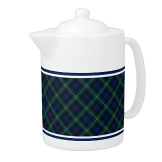 Mackenzie Clan Tartan Navy Blue and Green Plaid Teapot