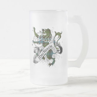 MacKenzie Tartan Lion Frosted Glass Beer Mug