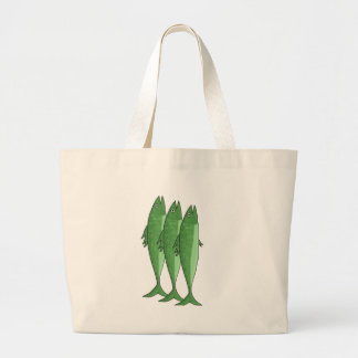 Mackerel - green large tote bag