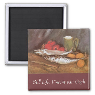 Mackerels, Lemons and Tomatoes by Vincent van Gogh 2 Inch Square Magnet