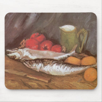 Mackerels, Lemons and Tomatoes by Vincent van Gogh Mouse Pad