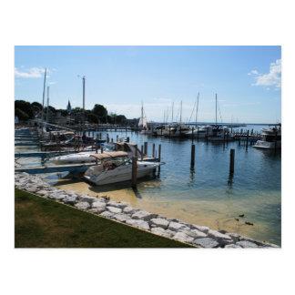 Mackinac boats postcard