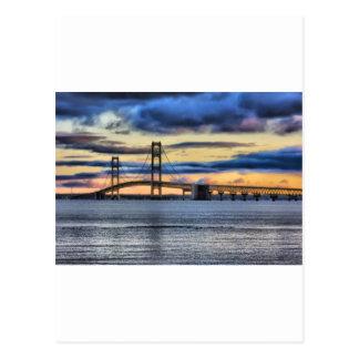 Mackinac  Bridge 1155 Blue Postcard