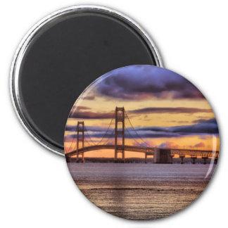 Mackinac Bridge 1155 Gold Fridge Magnets
