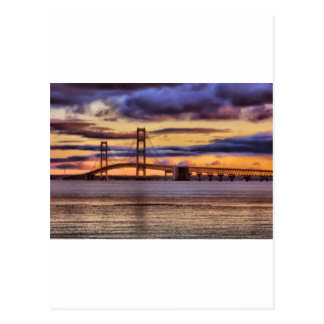 Mackinac Bridge 1155 Gold Postcard