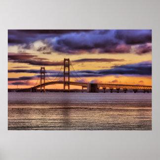 Mackinac Bridge #1155 Gold Poster