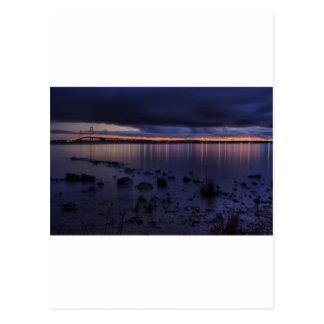 Mackinac Bridge 1243 Blue Postcard
