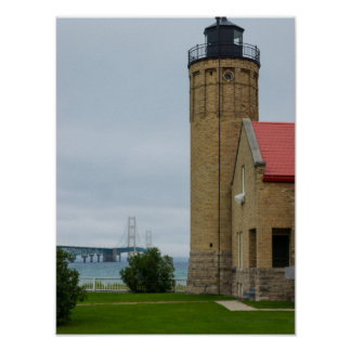 Mackinac Bridge and Lighthouse Poster