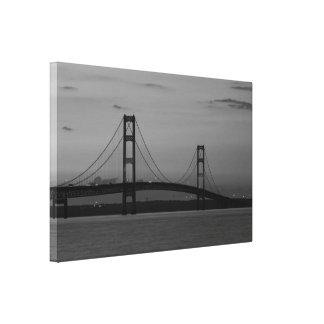 Mackinac Bridge At Dusk Grayscale Canvas Print