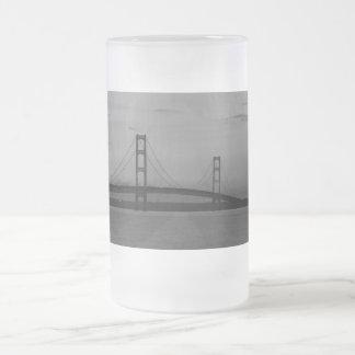 Mackinac Bridge At Dusk Grayscale Frosted Glass Beer Mug