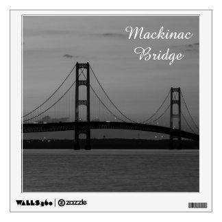 Mackinac Bridge At Dusk Grayscale Wall Sticker