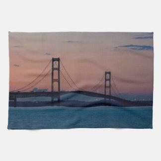 Mackinac Bridge At Dusk Kitchen Towel
