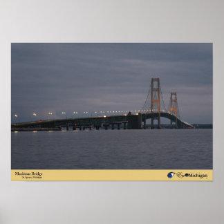 Mackinac Bridge at Dusk Poster