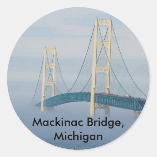 Mackinac Bridge, Michigan Round Stickers