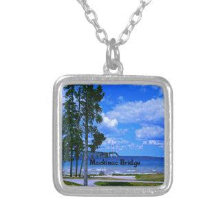 Mackinac Bridge Michigan Silver Plated Necklace