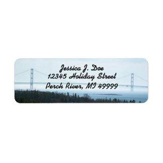 Mackinac Bridge Michigan UP Return address Label