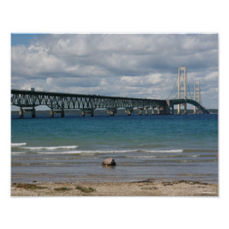 Mackinac Bridge on a Sunny Day Poster