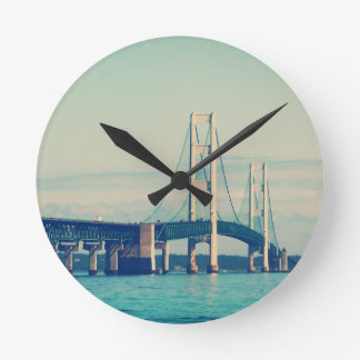Mackinac Bridge Round Clock