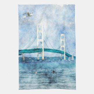 Mackinac Bridge Scenic Watercolor Art Towel