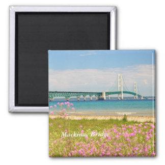 "Mackinac Bridge ""The Big Mac"" 2 Inch Square Magnet"