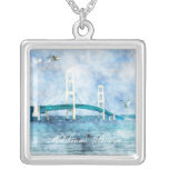 Mackinac Bridge Watercolor Square Necklace