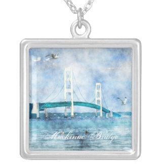 Mackinac Bridge Watercolor Square Necklace