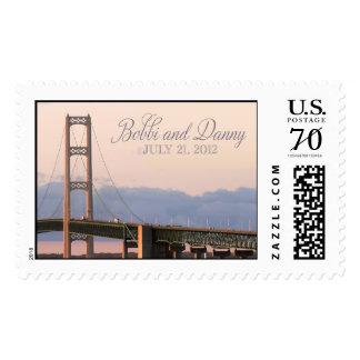 Mackinac Bridge Wedding monogram stamp