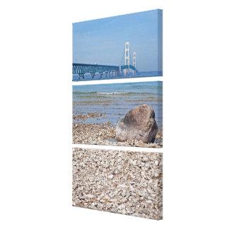 Mackinac Bridge With Rock Canvas Print