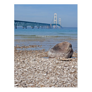 Mackinac Bridge With Rock Postcard