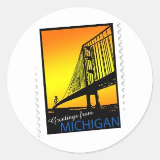 Mackinac Brige Greetings from Michigan! Classic Round Sticker