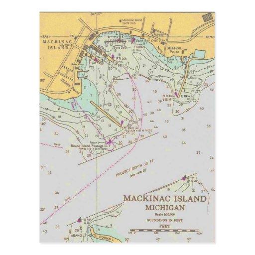 Mackinac Island harbor nautical chart post card
