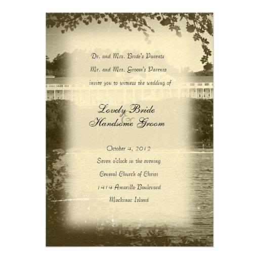 Mackinac Island Hotel Wedding Invitation