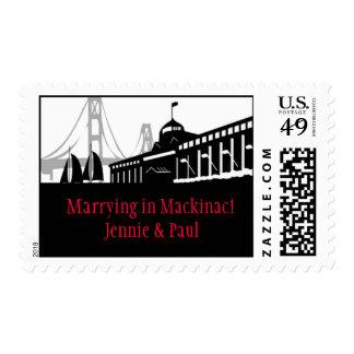 Mackinac Island Skyline Postage Stamp