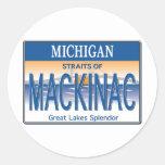 Mackinac License Round Stickers