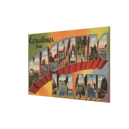 Mackinac, Michigan - escenas grandes de la letra Lona Estirada Galerías