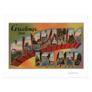 Mackinac Michigan - Large Letter Scenes Post Card