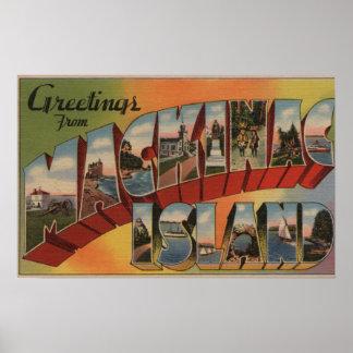 Mackinac, Michigan - Large Letter Scenes Poster