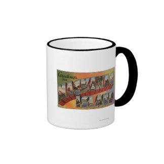 Mackinac, Michigan - Large Letter Scenes Ringer Mug