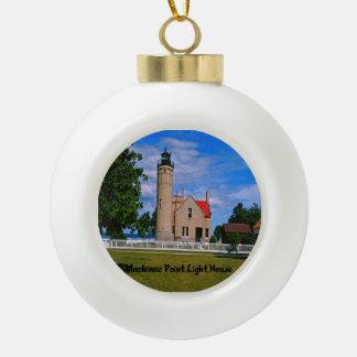 Mackinac Point Light House Michigan Ceramic Ball Christmas Ornament