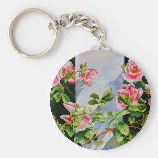 Mackinac Rose Basic Round Button Keychain
