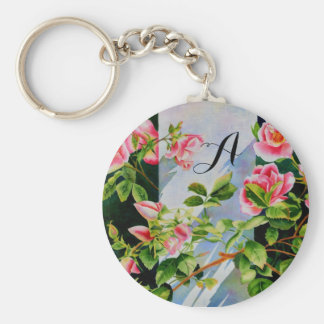 Mackinac Rose - monogram Basic Round Button Keychain