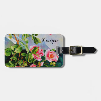Mackinac Rose Monogram Luggage Tag