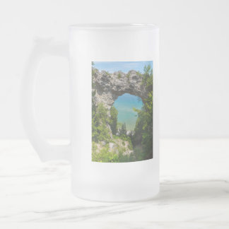 Mackinacs Arch Rock Frosted Glass Beer Mug