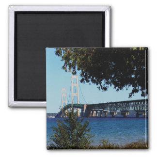 Mackinaw Bridge 2 Inch Square Magnet