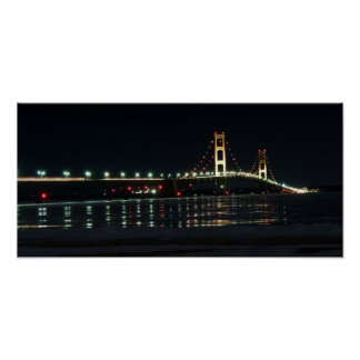 Mackinaw Bridge at night poster
