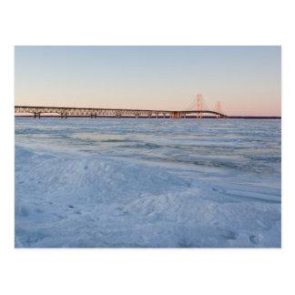 Mackinaw Bridge in Winter Postcard